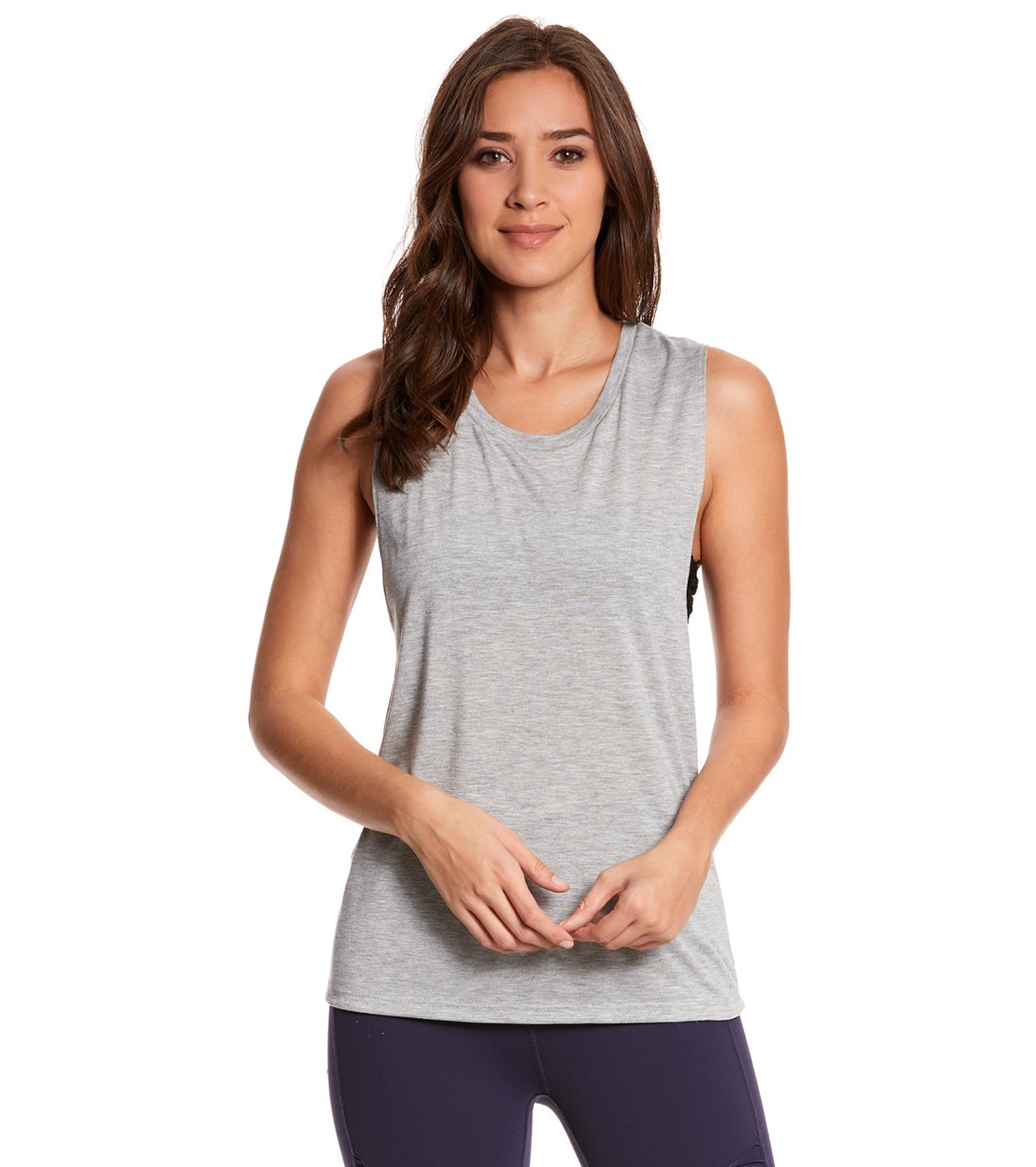 Bella + Canvas Women's Flowy Scoop Workout Muscle T-shirt - Athletic Heather - Small Cotton