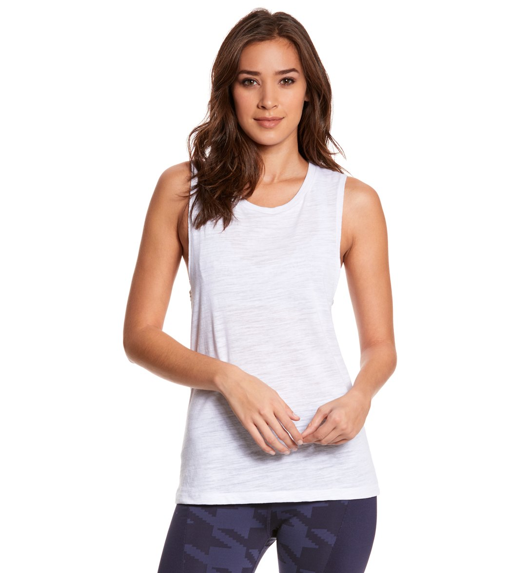 Bella + Canvas Women's Flowy Scoop Workout Muscle T-shirt - White Slub - XX-Large Cotton