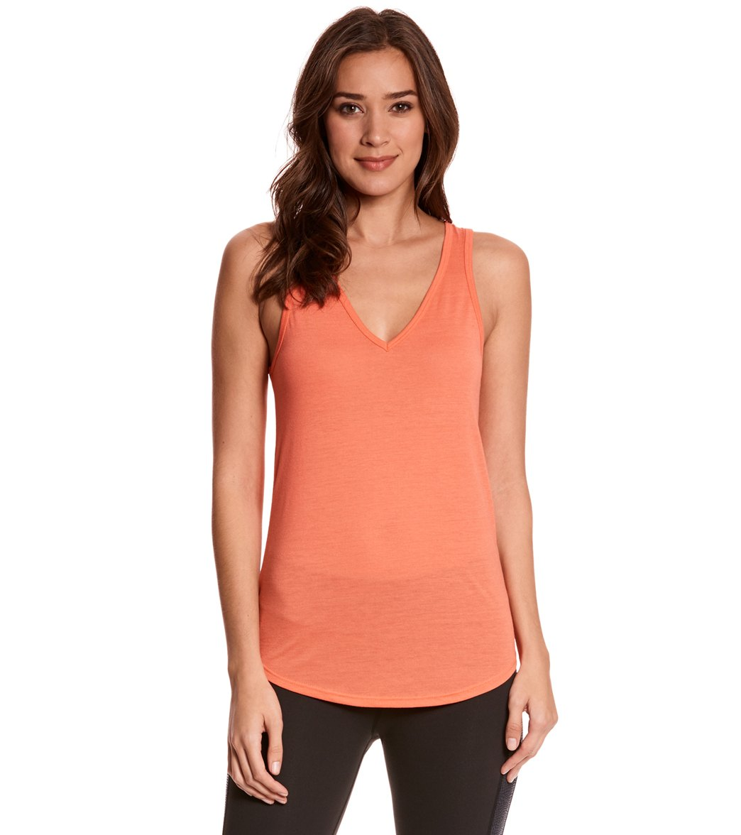 Bella + Canvas Women's Flowy V-Neck Workout Tank Top - Coral - X-Large Cotton