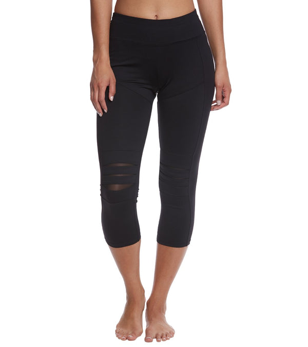 Betsey Johnson Slashed Knee Yoga Capri Leggings
