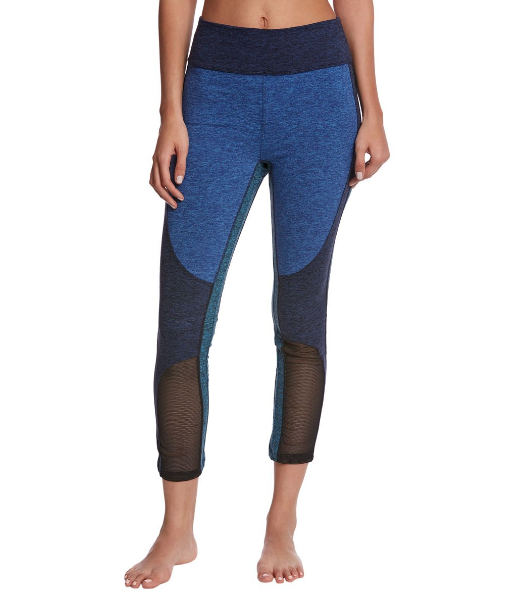 Free People Movement Color Blocked Dylan 7/8 Yoga Leggings - Blue Combo Spandex