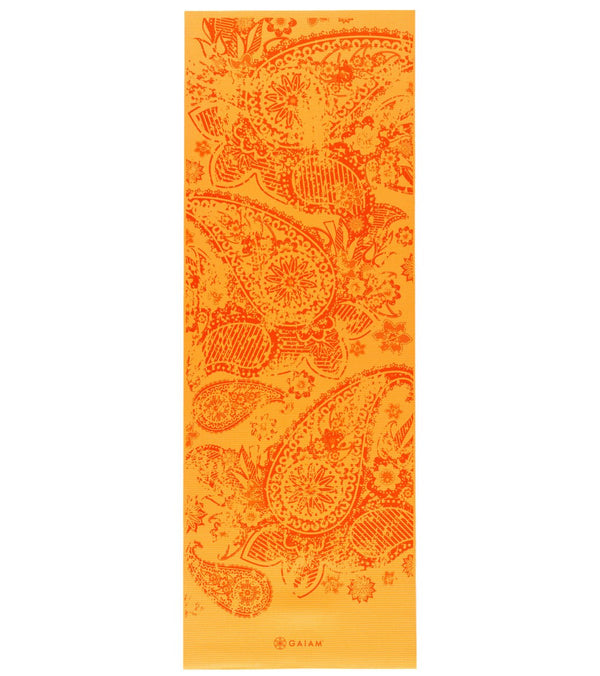 "Gaiam Reversible Elephant Printed Yoga Mat 68"" 6mm Extra Thick"