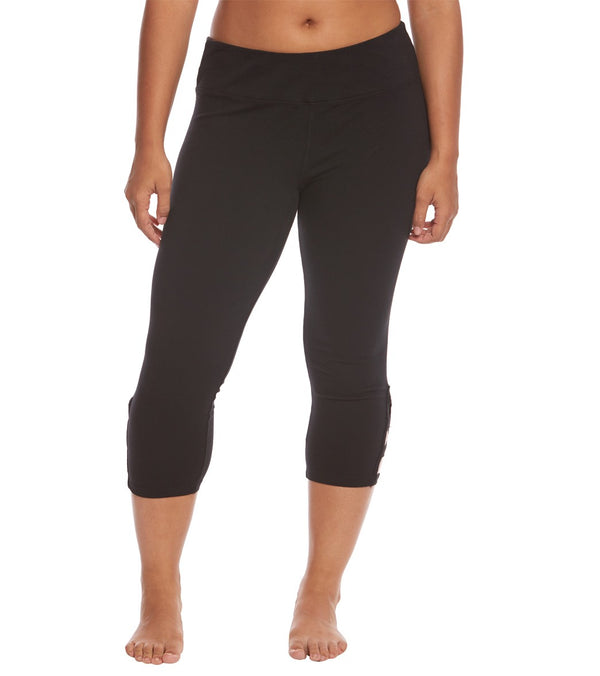 Hard Tail Plus Size Flat Waist Cage Cotton Yoga Capris