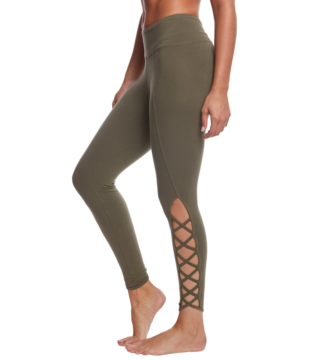 Hard Tail X Side Ankle Cotton Yoga Leggings - Olive