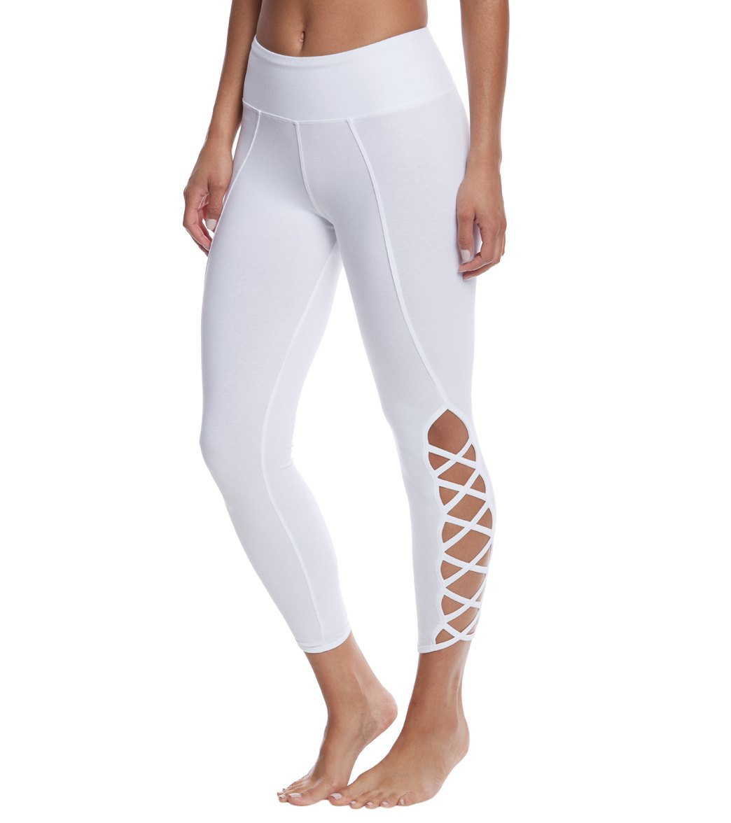 Hard Tail X Side Ankle Cotton Yoga Leggings - White
