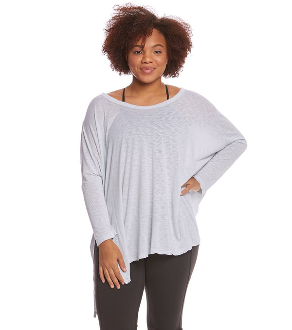 Hard Tail Plus Size Oversized 3/4 Sleeve Raglan Layering Top