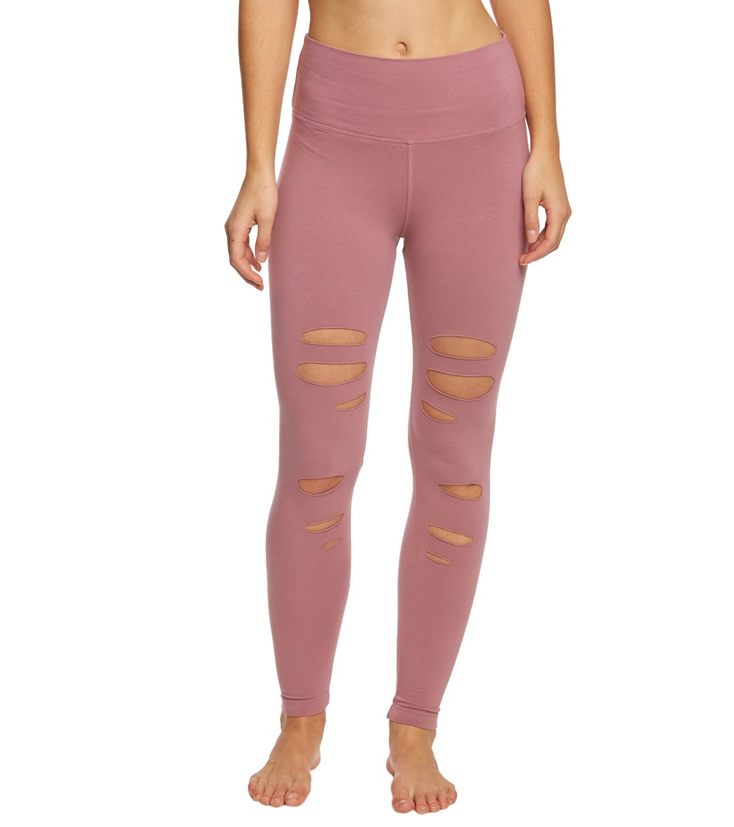 Hard Tail Flat Waist Laser Ankle Yoga Leggings - Dusty Rose Cotton