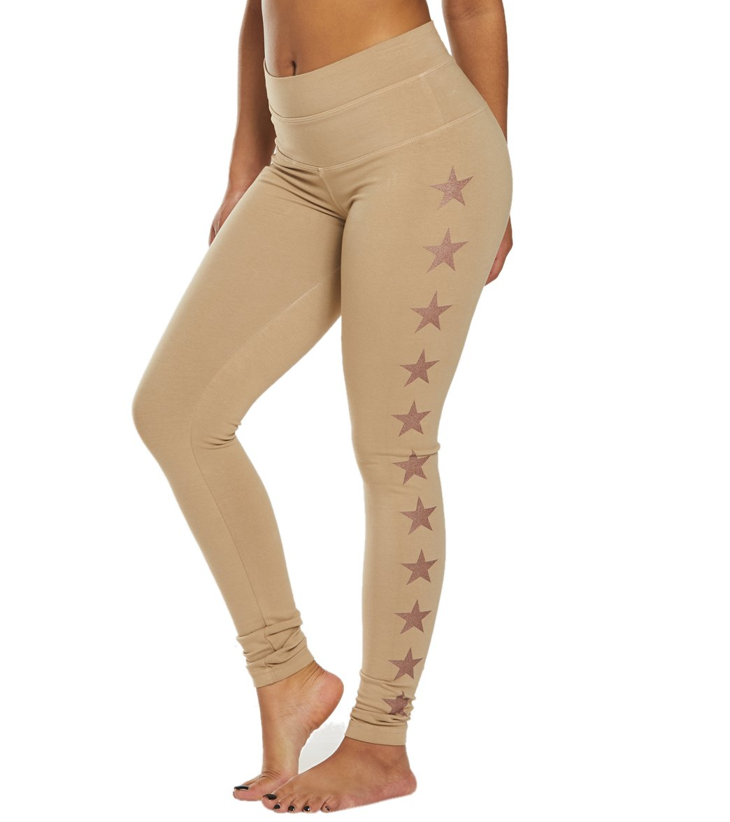 Hard Tail High Rise Star Ankle Cotton Yoga Leggings - Camel Rose