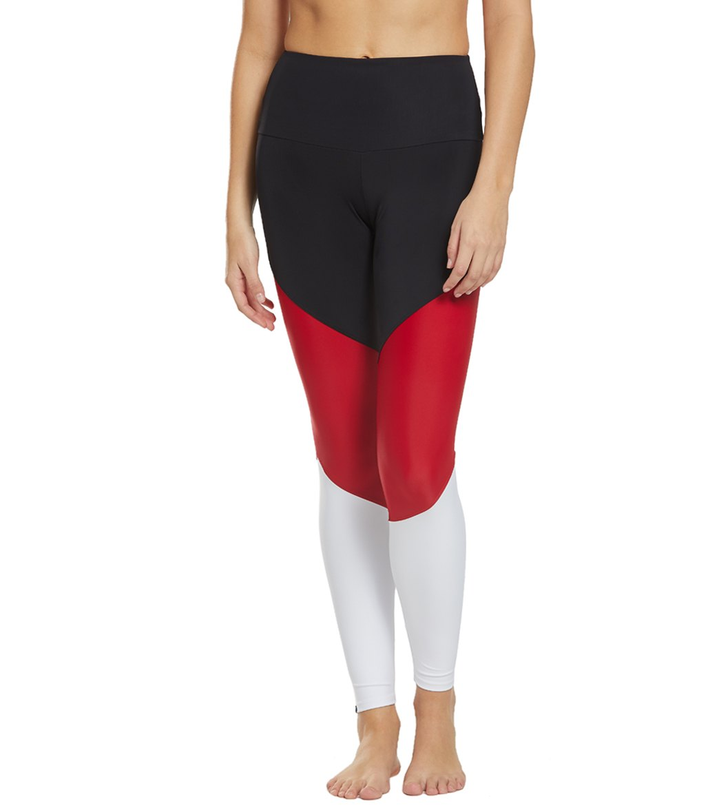 Onzie High Waisted Track Yoga Leggings - Combo Black/Red Spandex