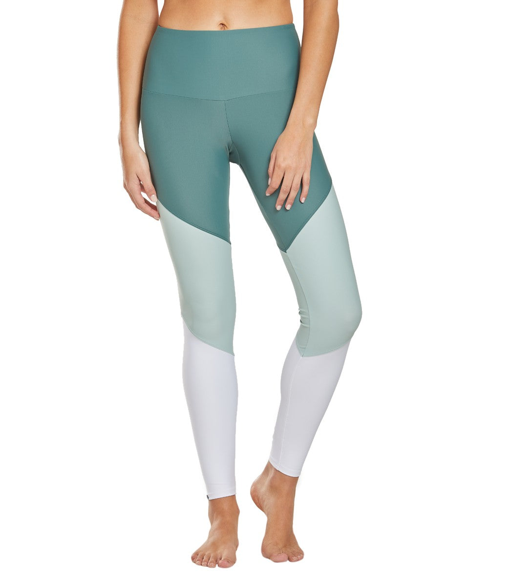 Onzie High Waisted Track Yoga Leggings - Pale Cacti Combo Spandex