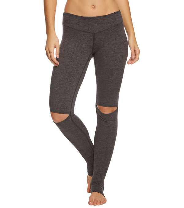 Hard Tail Mid Rise Slit Knee Yoga Leggings