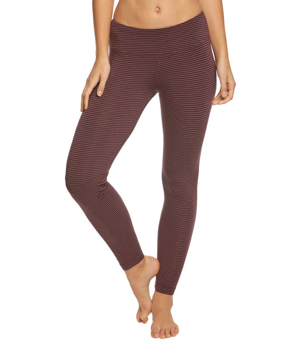 Hard Tail Flat Waist Striped Cotton Yoga Leggings