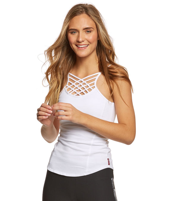 Hard Tail Front Lace Low Back Support Tank Top