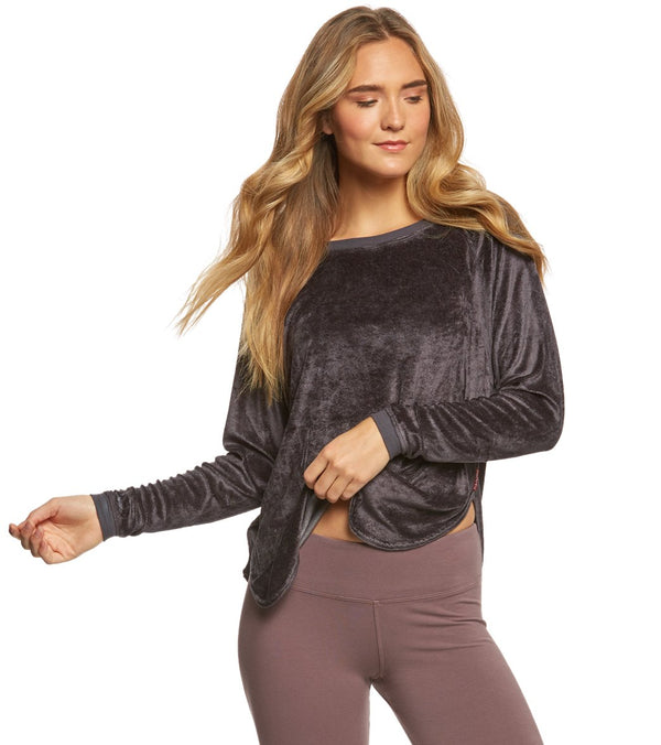 Hard Tail Velvet Raglan Shoulder Slide After Yoga Pullover