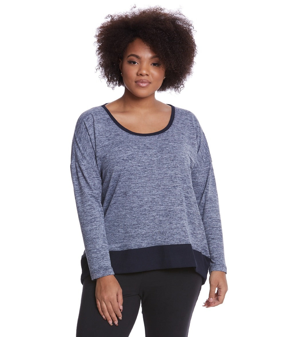 Stay comfy in the Balance Collection Plus Alexa Pullover, made from cozy jersey and rib knit fabric for a comfortable fit that you won\\\'t want to take off. Features Crew neckline. super soft and cozy. Rib knit hem and neck band. Hem drops at back. Details Fabric: 88% Polyester, 12% Spandex Color: Black, Blue Style Features: Solid Fit: Relaxed Length: Below hip Country of Origin Imported. About Balance Collection: The Balance Collection by Marika features women\\\'s clothes designed for the on-the-go