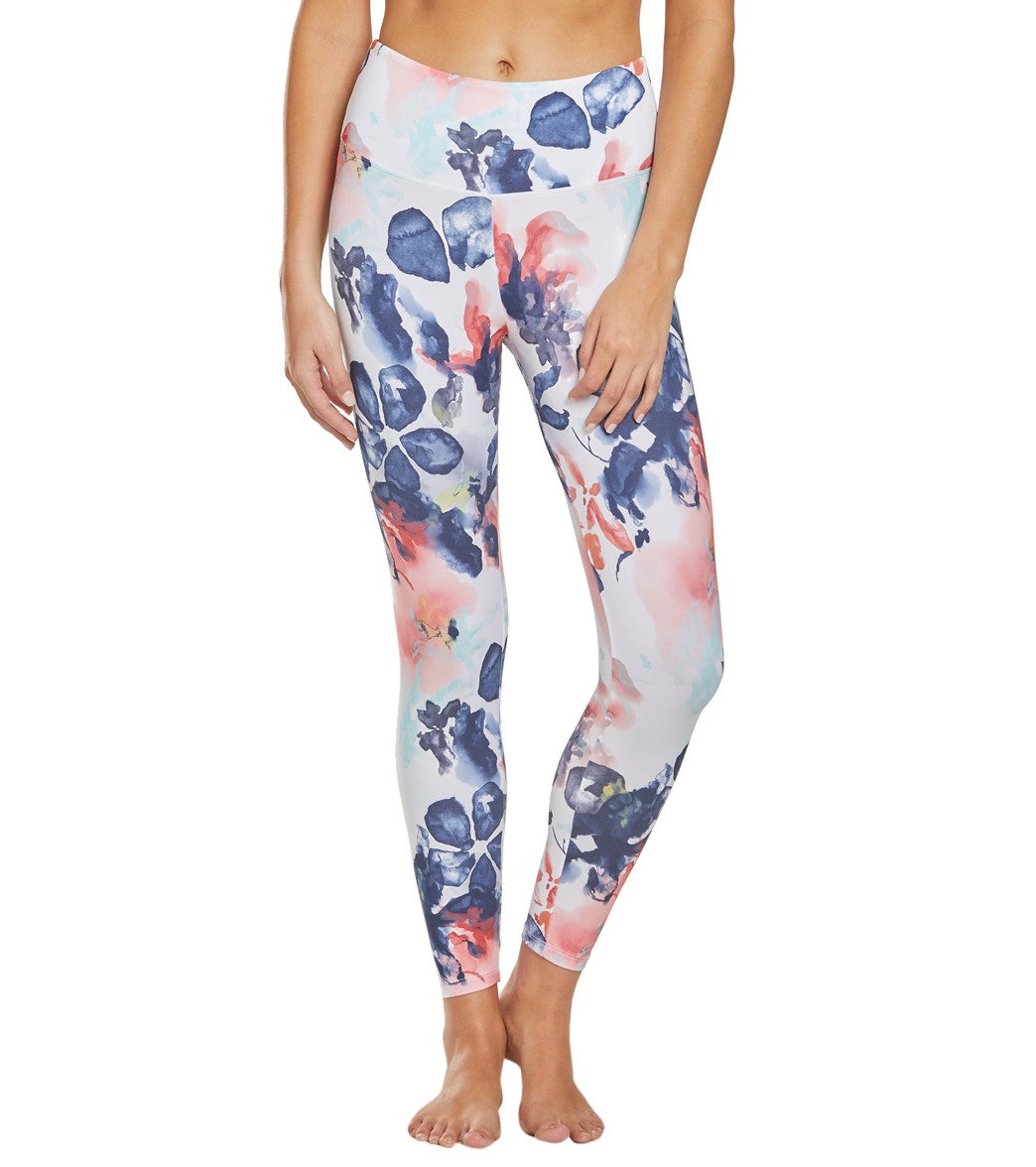 Balance Collection Printed High Waisted Yoga Capri Pants - Buff Yellow Watercolor Floral Cotton Moisture Wicking