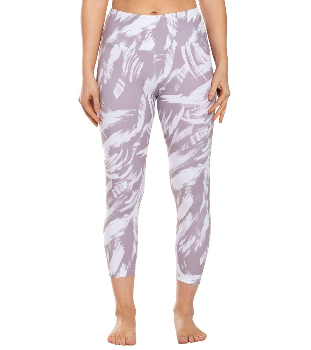 Balance Collection Printed High Waisted Yoga Capri Pants - Quail Invert Brush Strokes Cotton