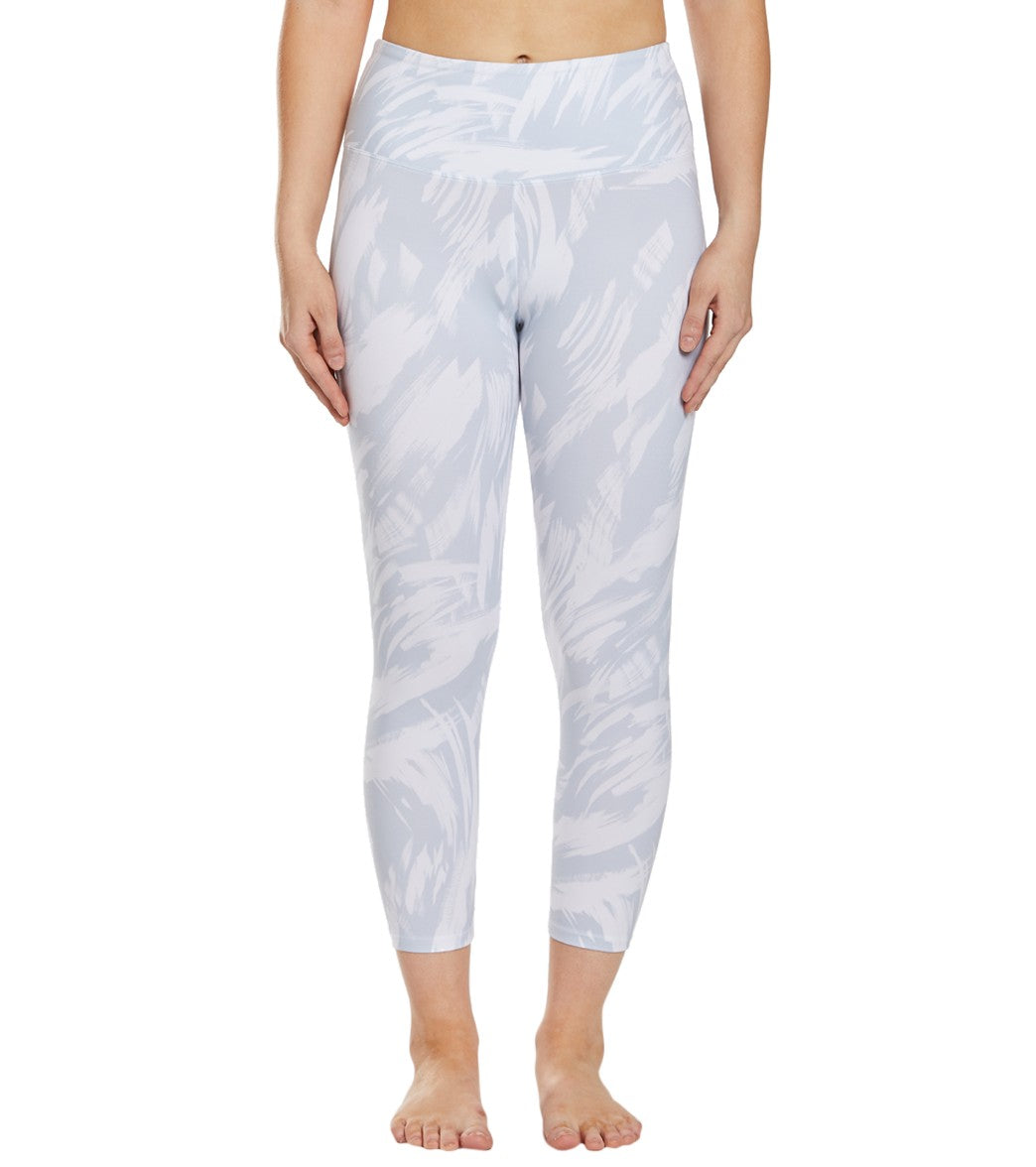 Balance Collection Printed High Waisted Yoga Capri Pants - Microchip Invert Brush Strokes Cotton