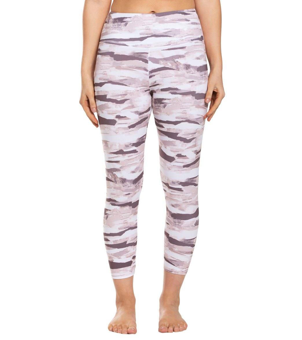 Balance Collection Printed High Waisted Yoga Capri Pants - Lotus Horizon Collage Cotton