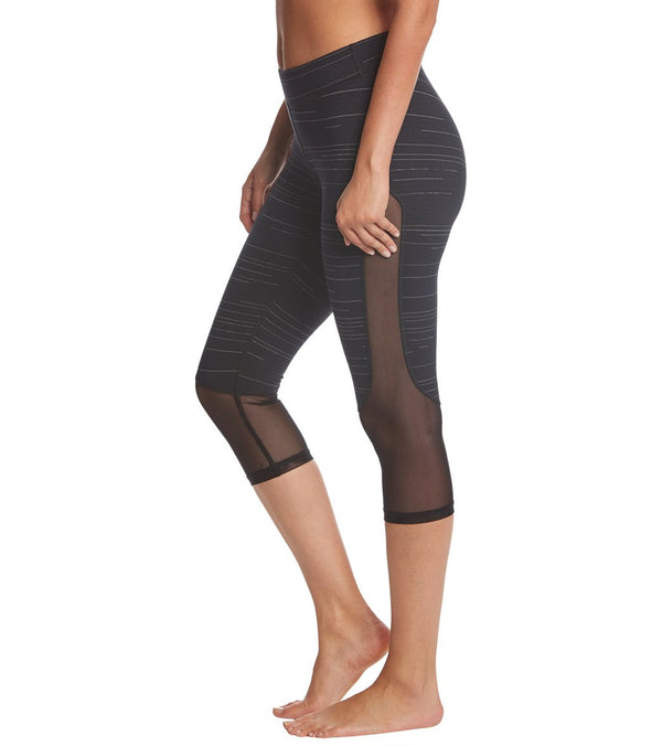Hard Tail Mid Rise Side Mesh Yoga Capris