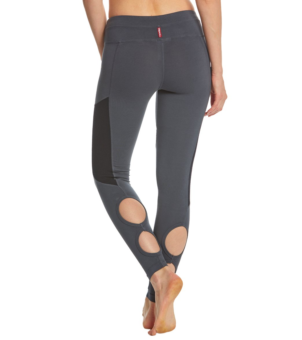 Hard Tail Low Rise Double Loop Cotton Yoga Leggings - Onyx
