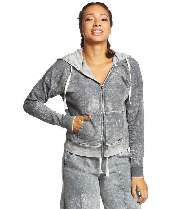 Betsey Johnson Performance Bleach Wash Zip Up Hoodie