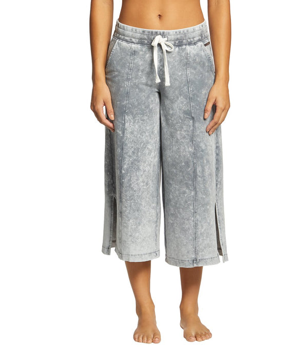 Betsey Johnson Performance Bleach Wash Flare Crop Sweatpants