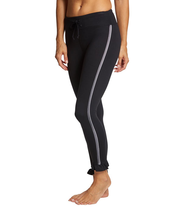 Betsey Johnson Performance Side Mesh Ruffle Hem Yoga Leggings