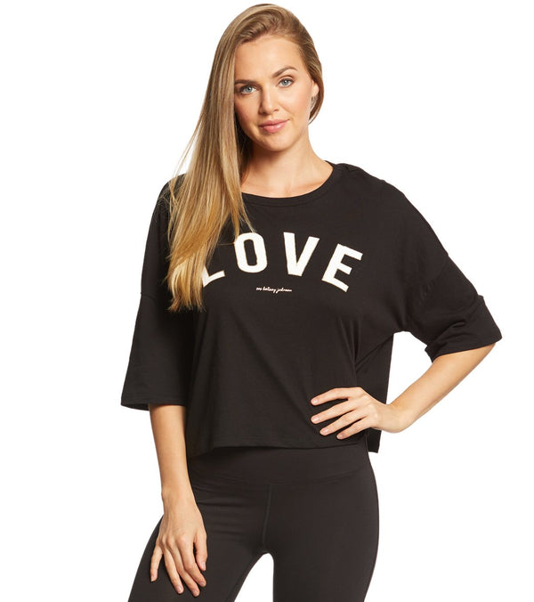 Betsey Johnson Performance LOVE Distressed Boxy Tee