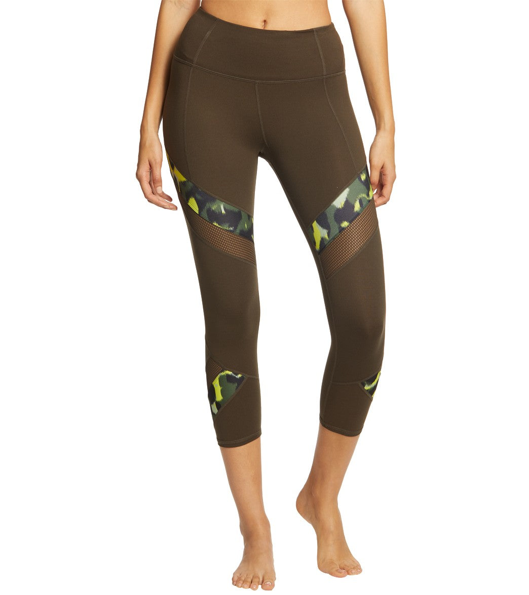 Betsey Johnson Performance High Rise Solid With Print Mesh Yoga Capri Pants - Moss Spandex