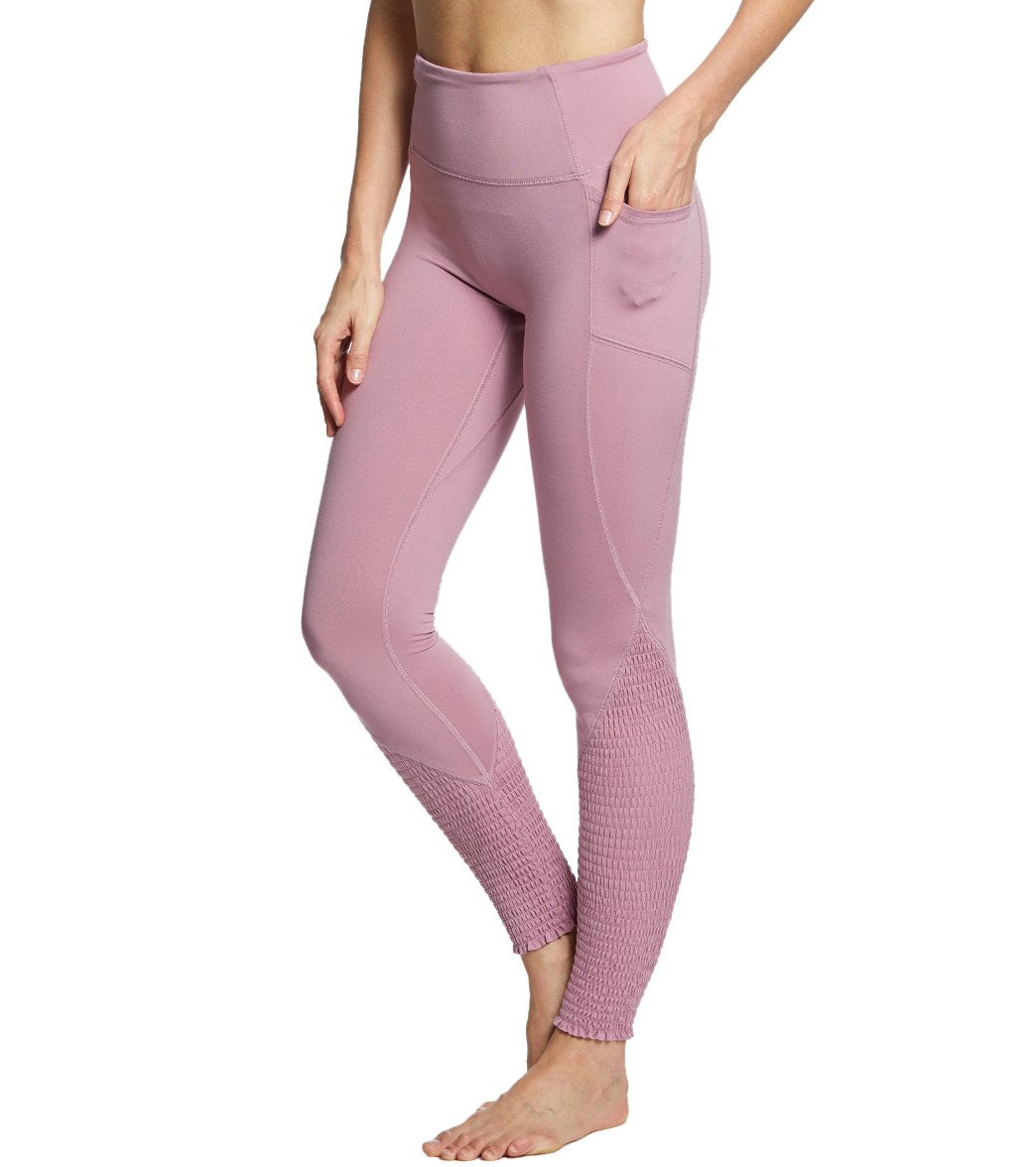 Free People Movement Time Is Now Smocked Leggings With Pockets - Mulberry Spandex