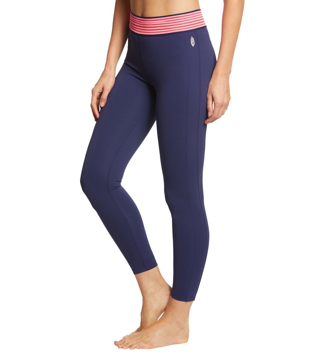 Free People Movement Solid Practice Makes Perfect Yoga Leggings - Navy Blue Spandex