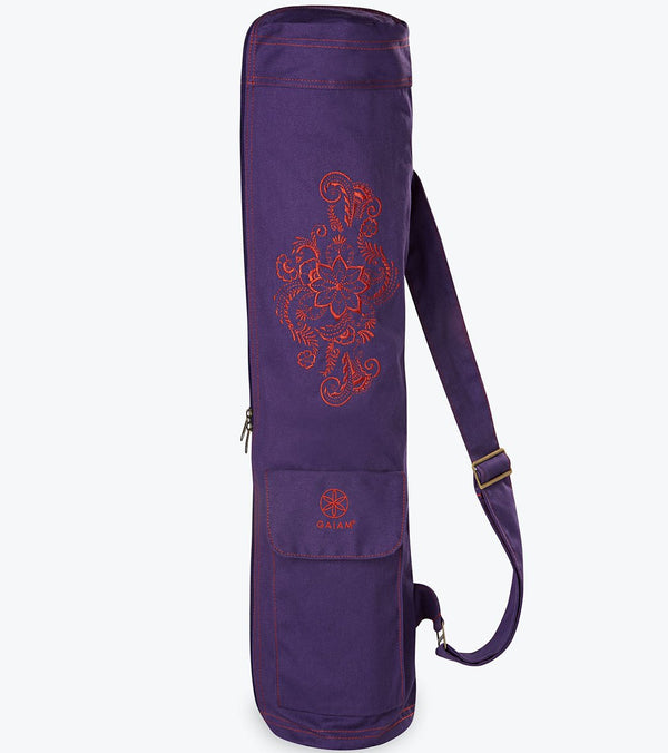Gaiam Aubergine Embroidered Cargo Yoga Mat Bags