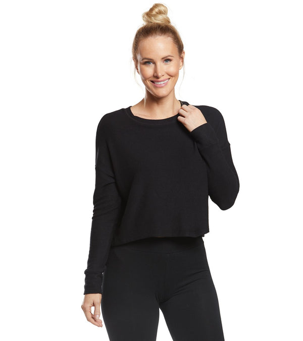 Beyond Yoga Brushed Up Cropped Yoga Pullover