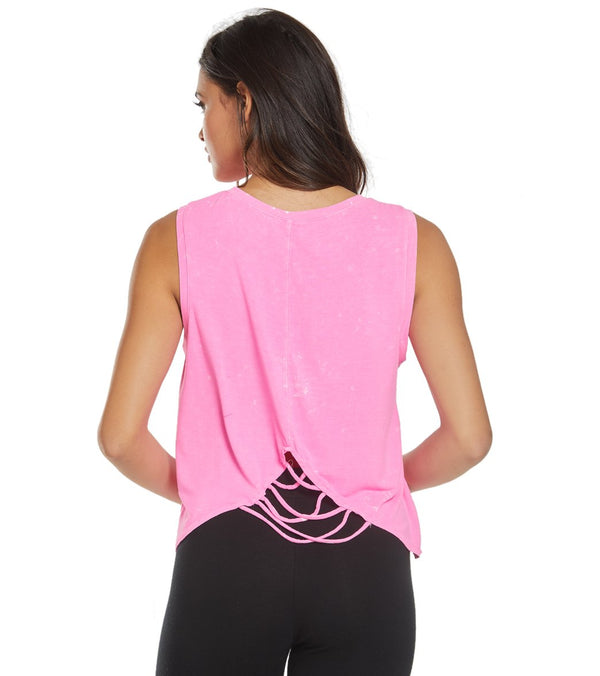 Betsey Johnson Performance Split Back Muscle Yoga Tank Top
