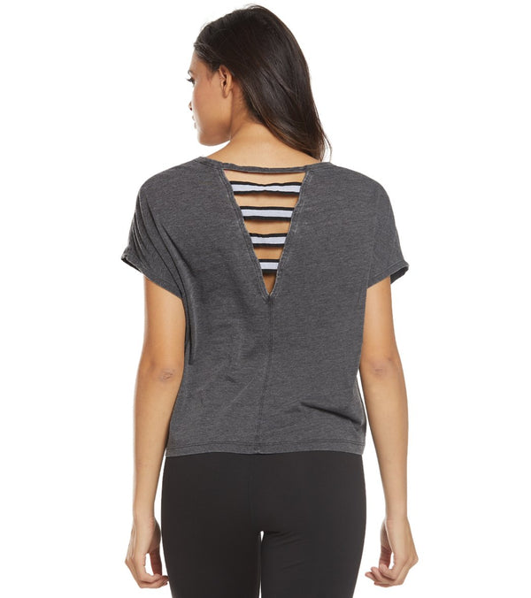 Betsey Johnson Performance Stripe Band Cutout Boxy Yoga Tee
