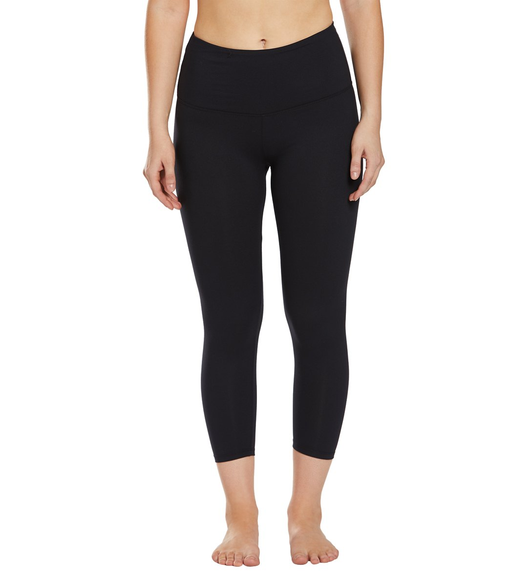 Balance Collection Ultra High Waisted Yoga Capri Pants - Black Cotton