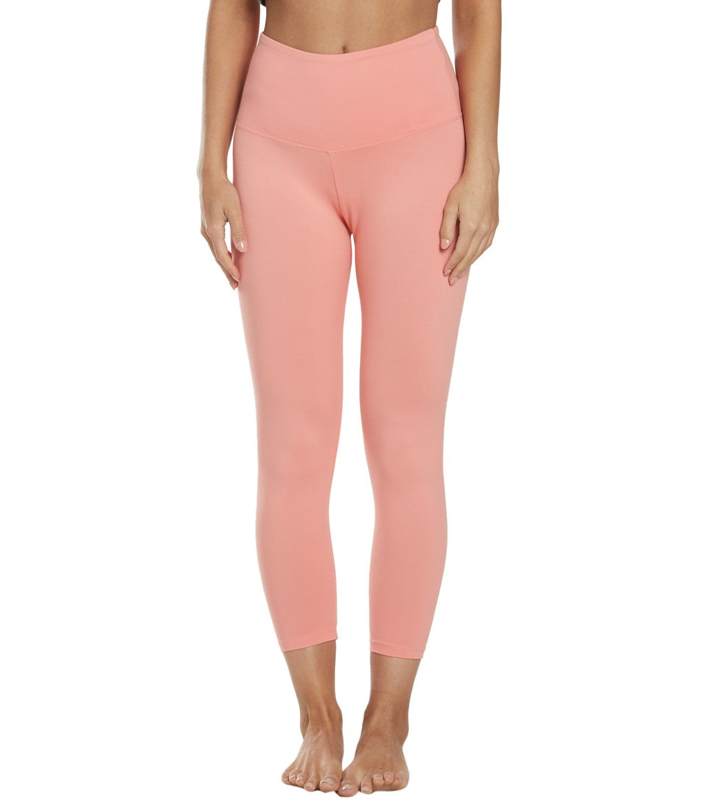Balance Collection Ultra High Waisted Yoga Capri Pants - Burnt Coral Cotton