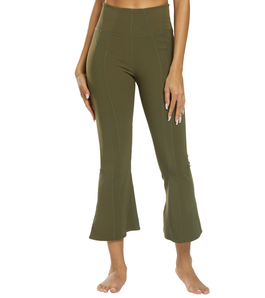 Free People Movement High Waisted Lyla Flare Pants - Army Spandex