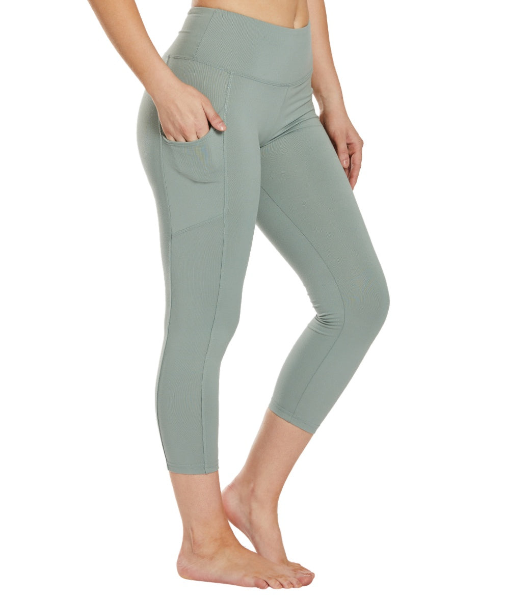 Balance Collection Eclipse Yoga Capri Pants - Slate Grey Cotton