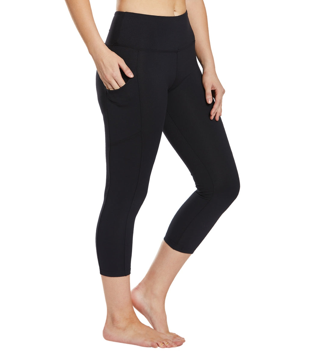 Balance Collection Eclipse Yoga Capri Pants - Black Cotton