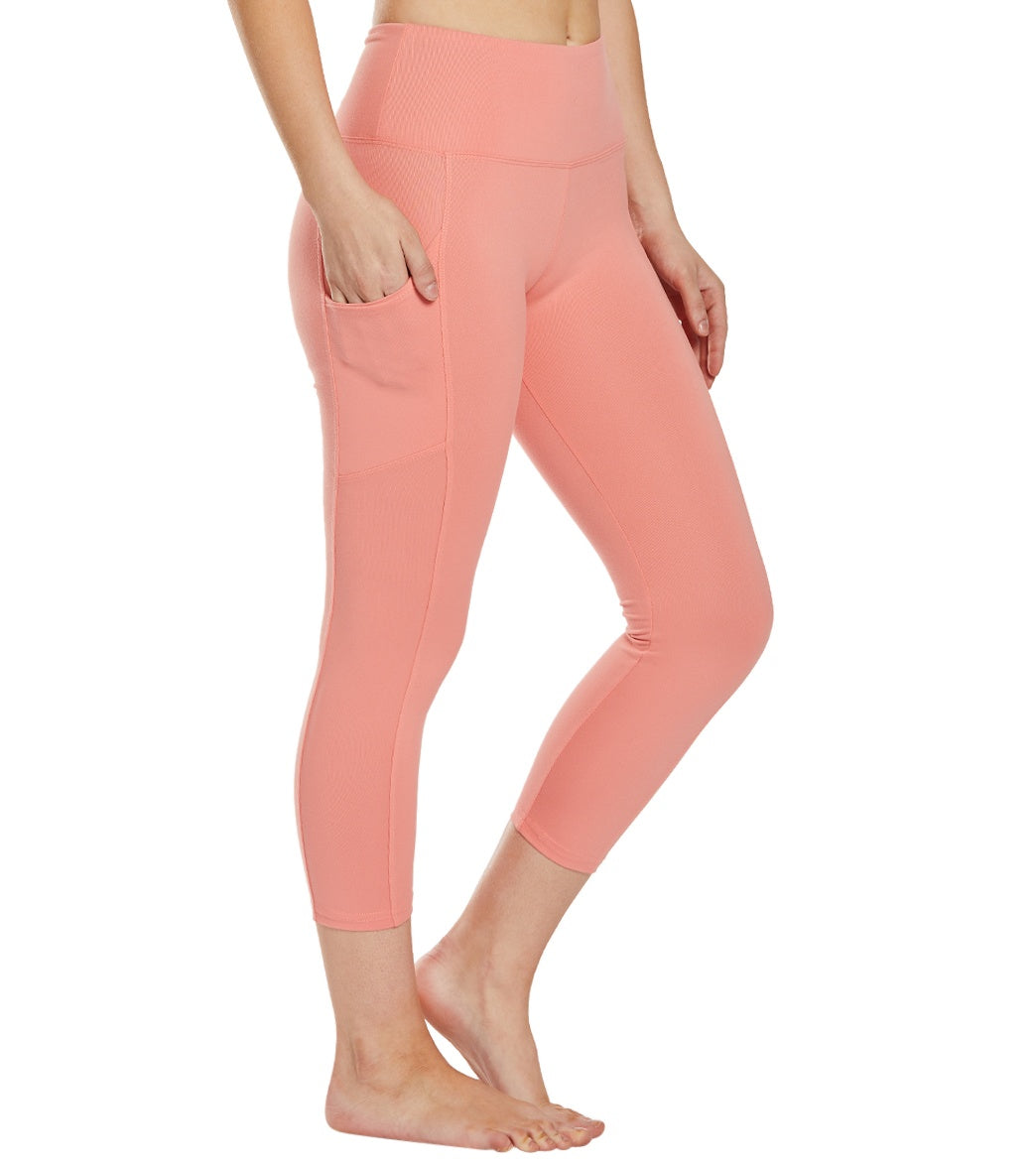 Balance Collection Eclipse Yoga Capri Pants - Burnt Coral Cotton