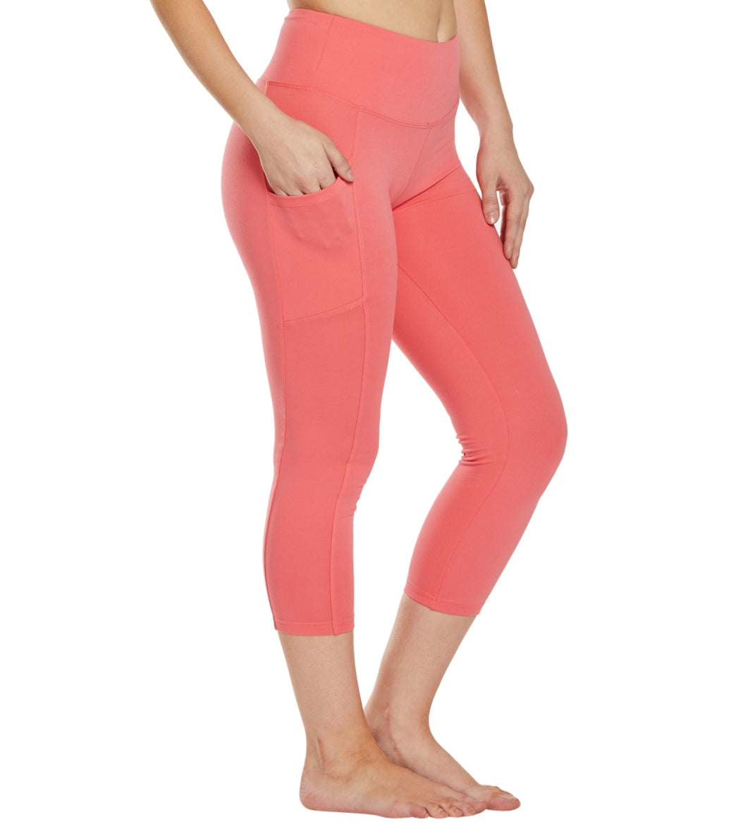 Balance Collection Eclipse Yoga Capri Pants - Rose Of Sharon Cotton