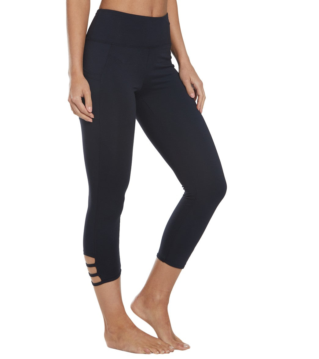 Balance Collection Maddie Yoga Capri Pants - Black Cotton