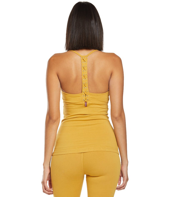 Hard Tail Back Laced Halter Support Tank Top
