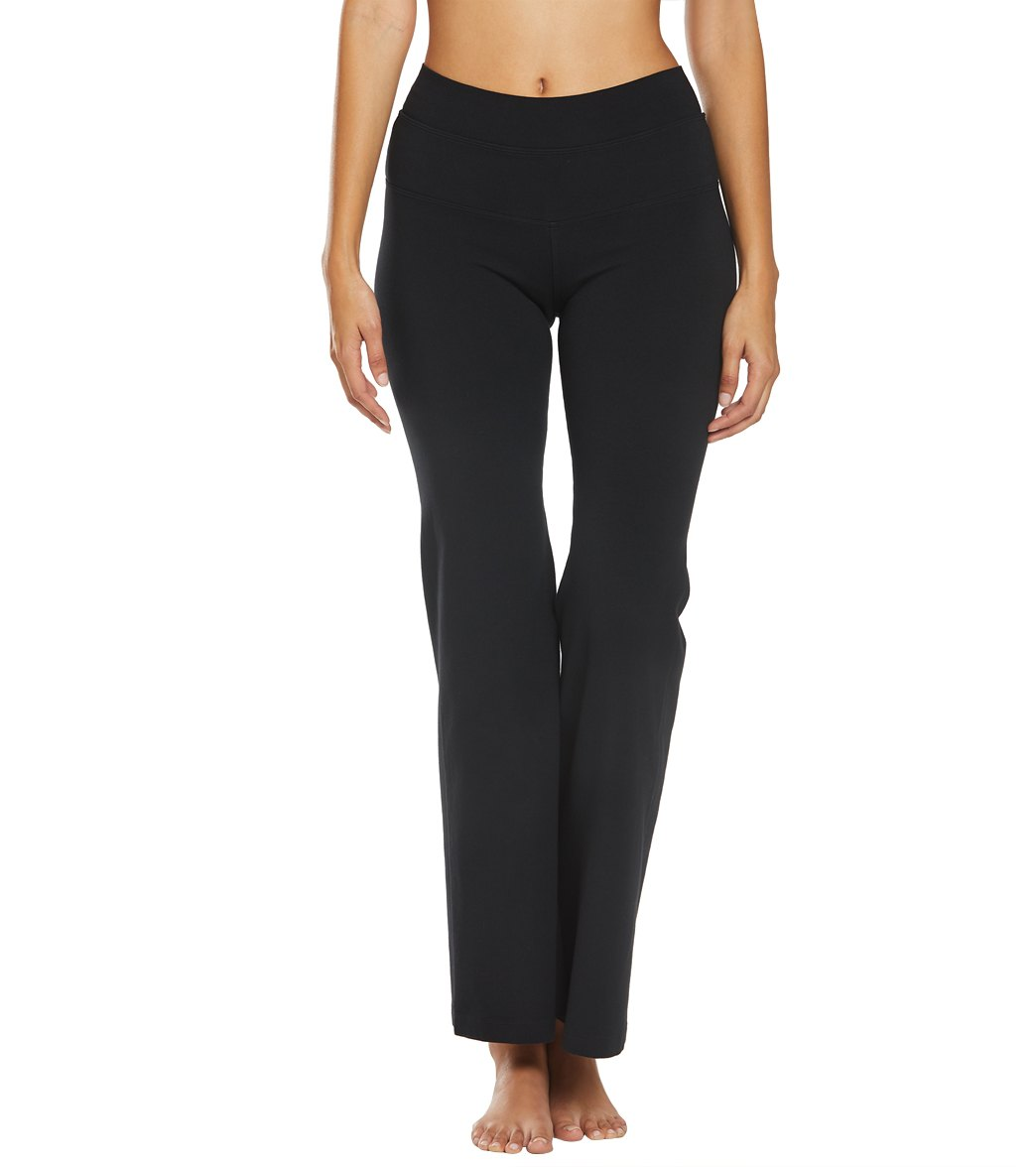 Hard Tail High Waisted Wide Flare Yoga Pants - Black Cotton