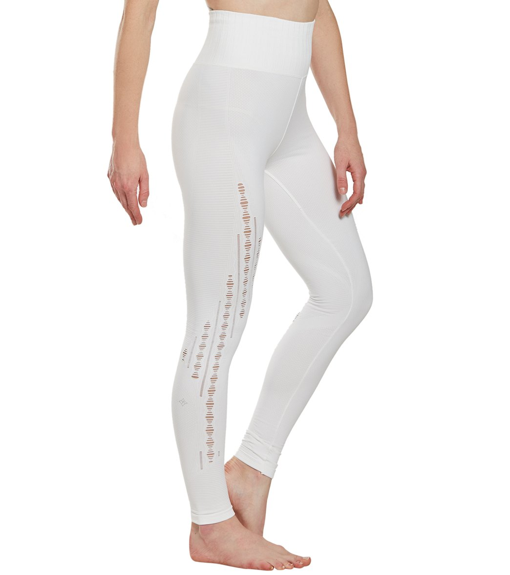 NUX Triple Threat Seamless Yoga Leggings - White Spandex