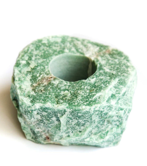 SoulMakes Rough Green Quartz Candle Holder