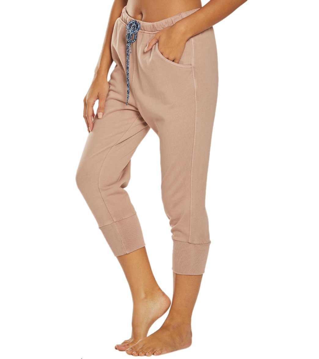 Free People Counterpunch Cropped Jogger Pants - Taupe Cotton