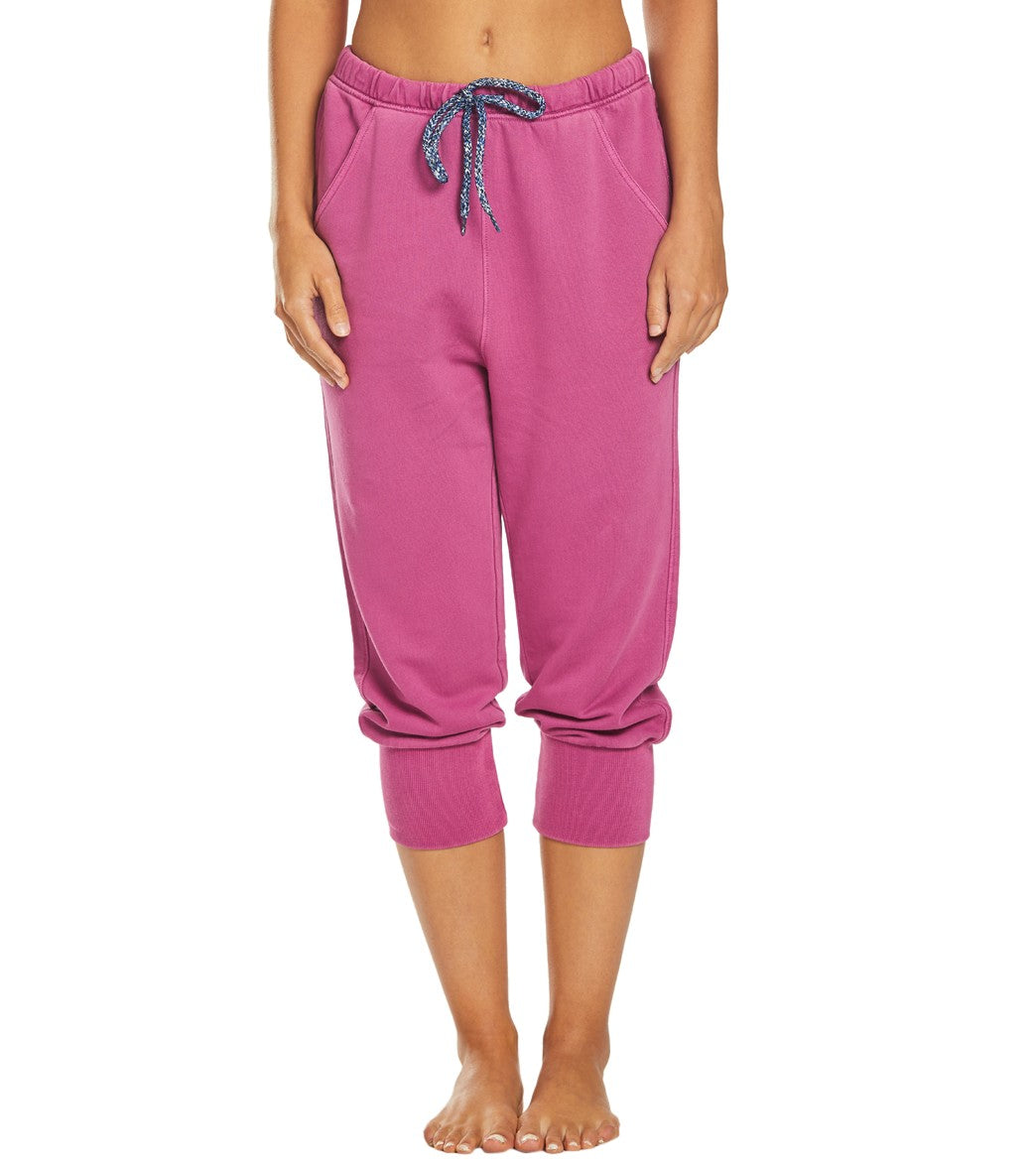 Free People Counterpunch Cropped Jogger Pants - Pink Cotton